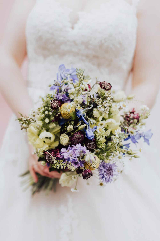Bouquet Flowers Bride Bridal Purple Homemade Wedding Wyldbee Photography