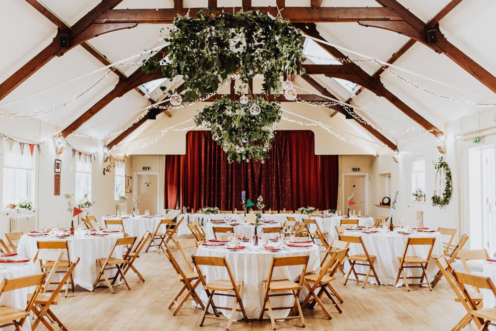 Village Hall Reception Greenery Hoops Homemade Wedding Wyldbee Photography