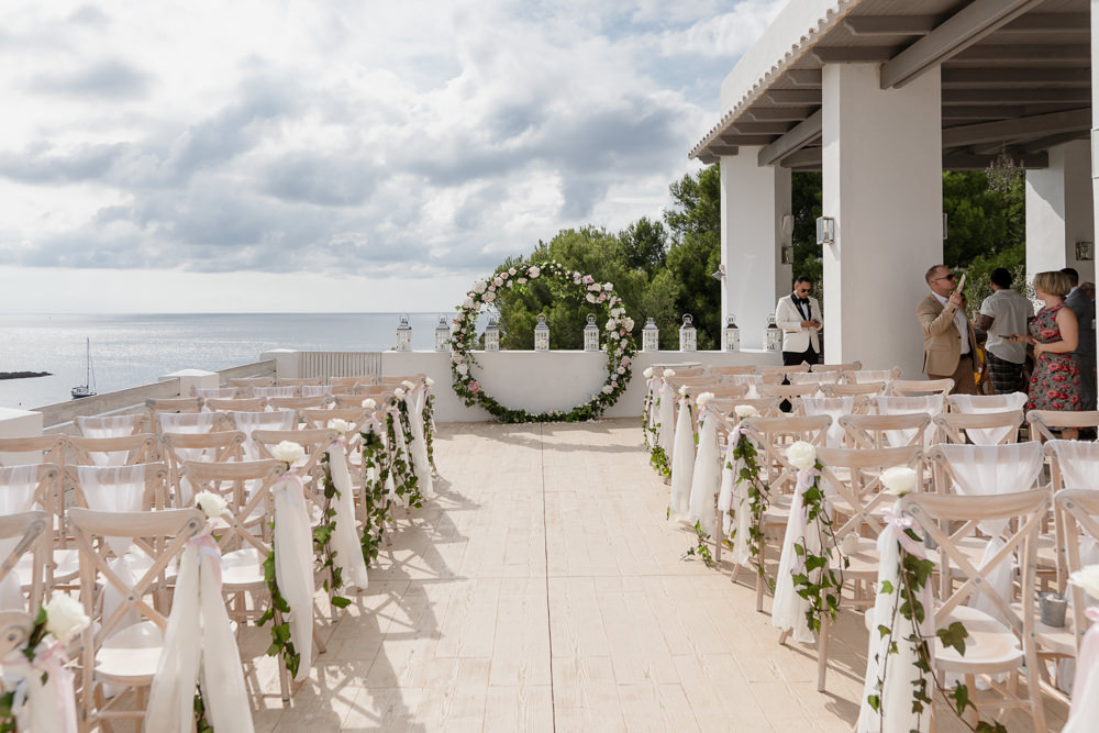 Moongate Flower Arch Ceremony Backdrop Ibiza Destination Wedding David Christopher Photography