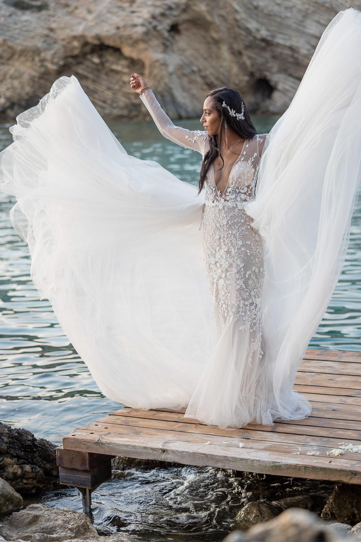 Dress Gown Bride Bridal Berta Tulle Lace Illusion Long Sleeves Ibiza Destination Wedding David Christopher Photography
