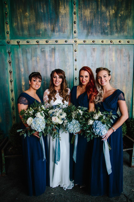 Navy Blue Bridesmaid Dress Bridesmaids Dresses Indie Warehouse Wedding Dan Hough Photo