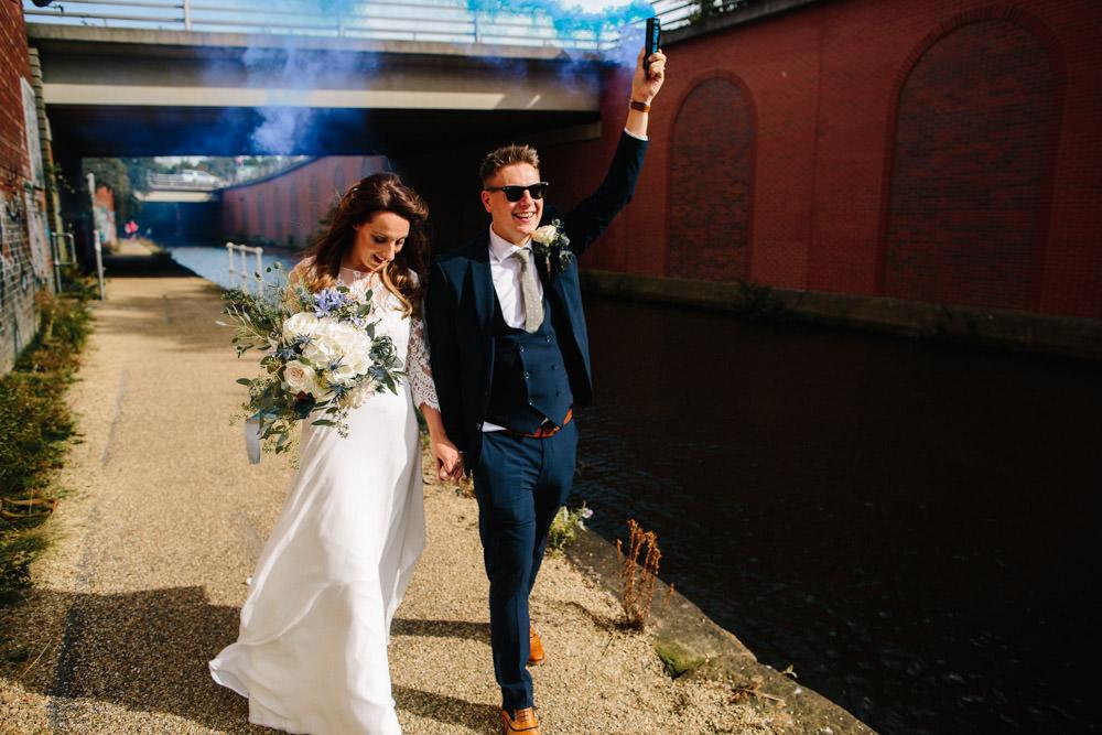 Groom Suit Navy Indie Warehouse Wedding Dan Hough Photo