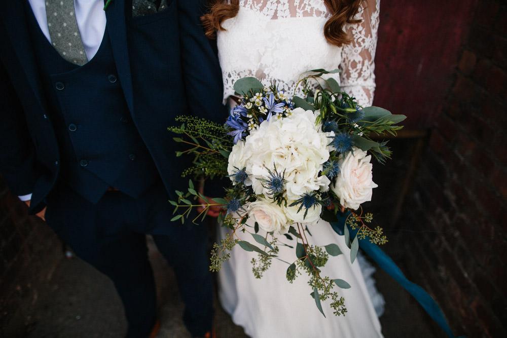 Bouquet Flowers Bride Bridal White Blue Hydrangea Thistle Indie Warehouse Wedding Dan Hough Photo