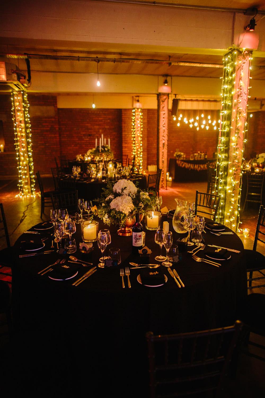 Festoon Lights Lighting Decor Candles Indie Warehouse Wedding Dan Hough Photo