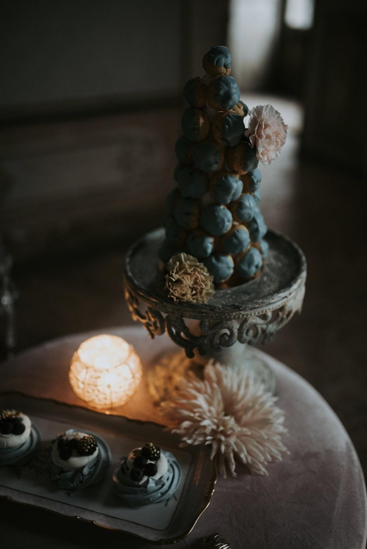 Croquembouche Blue Cake Italy Elopement Ideas Gradisca Portento Fotografica