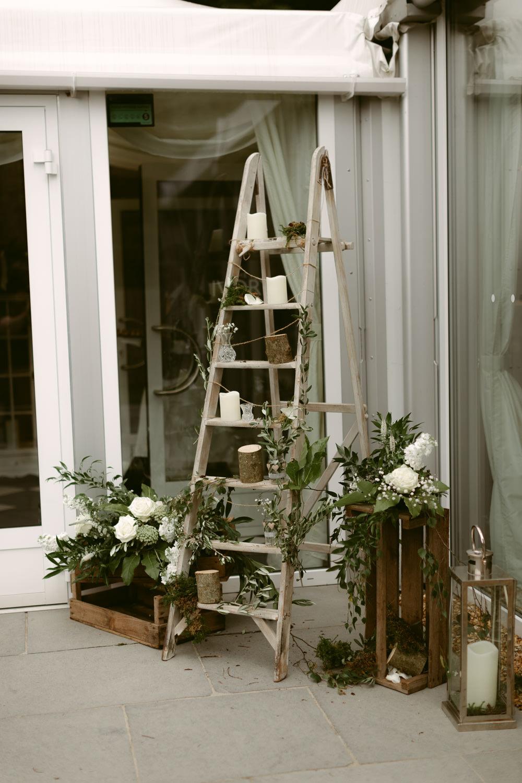 Wooden Ladder Decor Flowers Ivory Pavilion Wedding Iain Irwin Photography