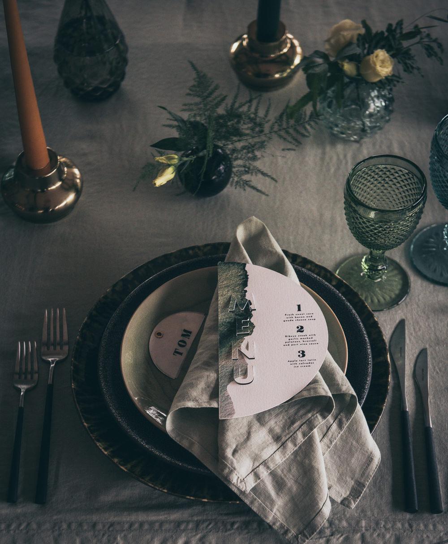 Table Tablescape Decor Greenery Foliage Black Tableware Candles Glasses Modern Wedding Ideas Cat Arwel Photography