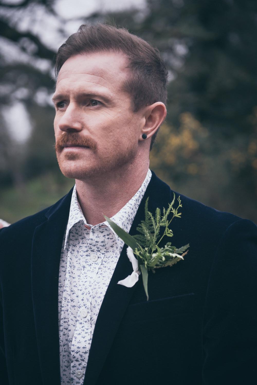 Groom Velvet Jacket Buttonhole Modern Wedding Ideas Cat Arwel Photography