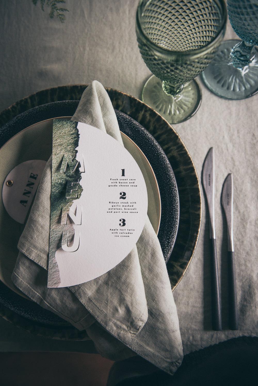 Place Setting Decor Menu Napkin Place Name Card Modern Wedding Ideas Cat Arwel Photography
