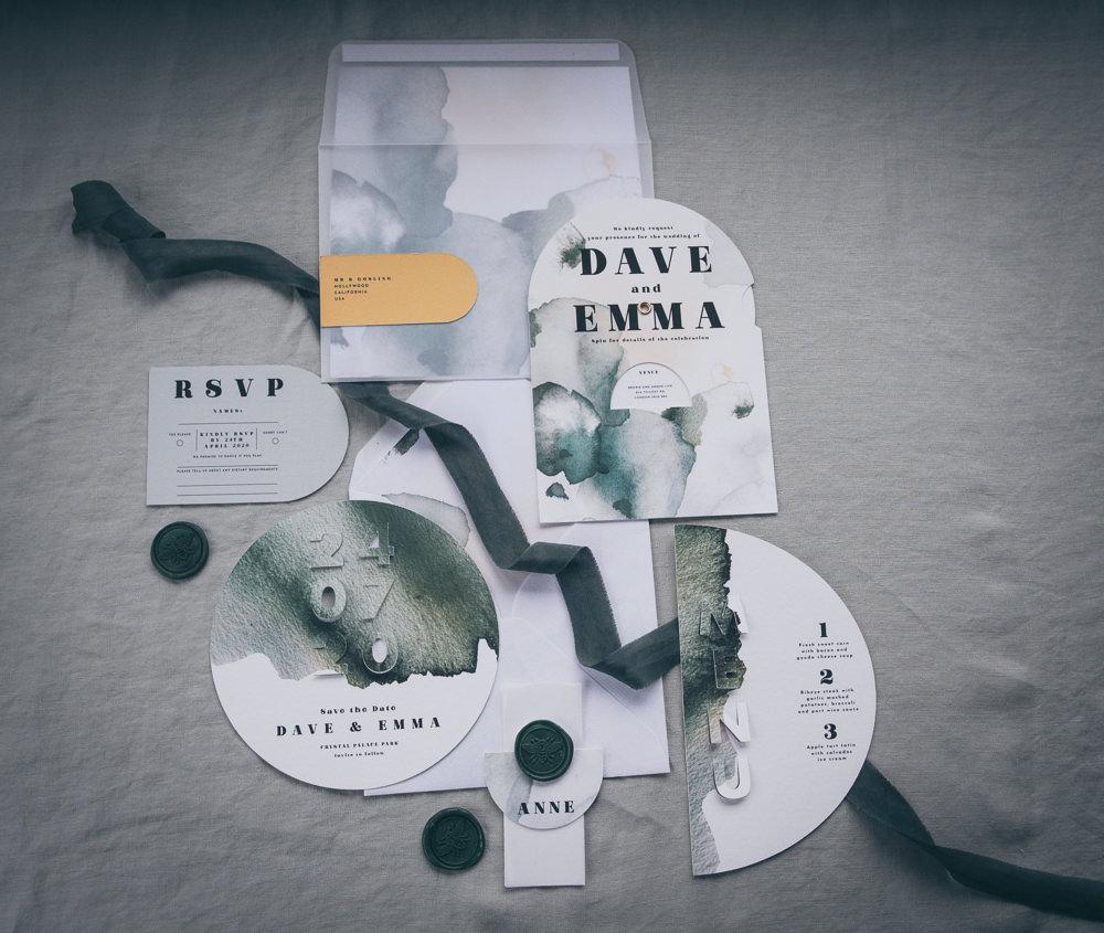 Stationery Invites Invitations Watercolour Green Grey Modern Wedding Ideas Cat Arwel Photography
