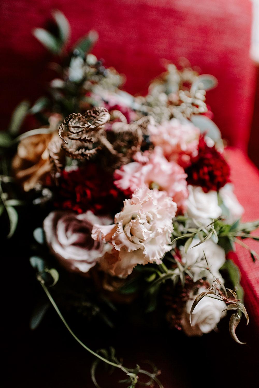 Bouquet Flowers Bride Bridal Red Blush Dahlia Rose NYE Wedding Ellie Gillard Photography