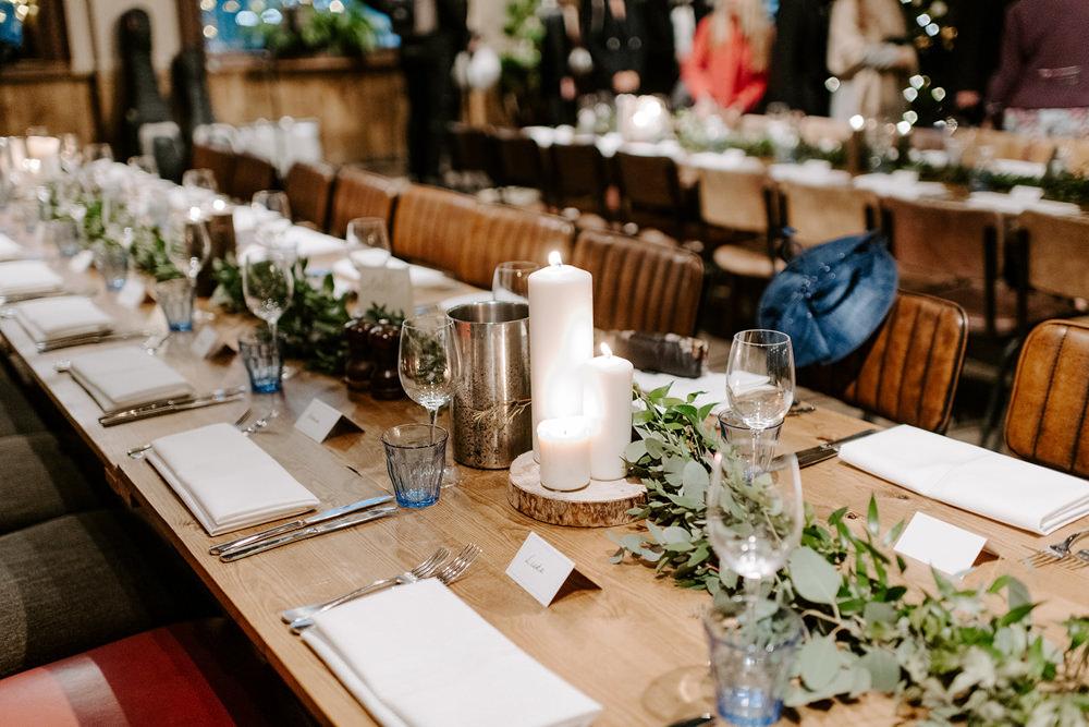 Long Table Greenery Foliage Candles Runner NYE Wedding Ellie Gillard Photography