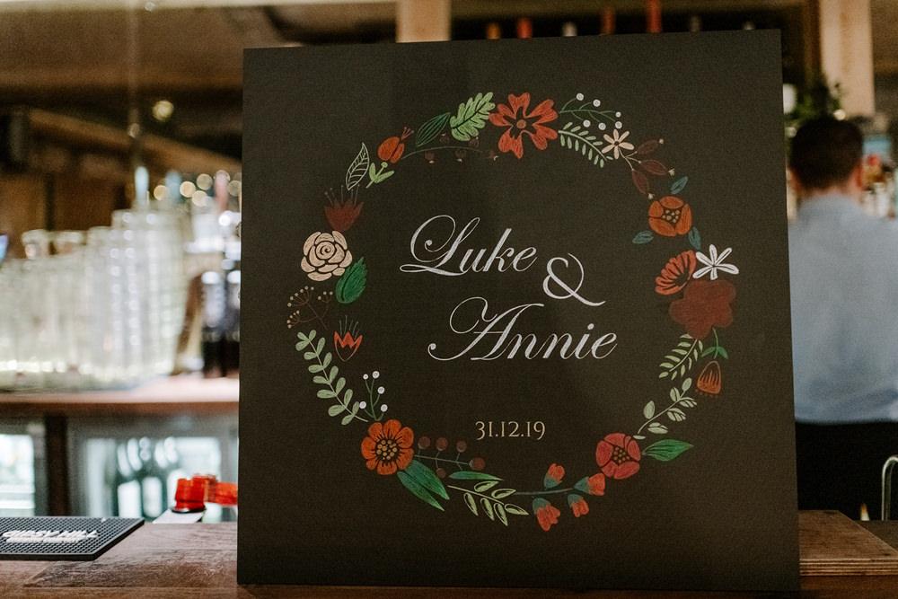 Sign Signs Signage Floral Chalk Board NYE Wedding Ellie Gillard Photography