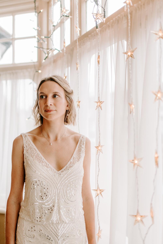 Dress Gown Bride Bridal Phase Eight Sparkly Beaded NYE Wedding Ellie Gillard Photography
