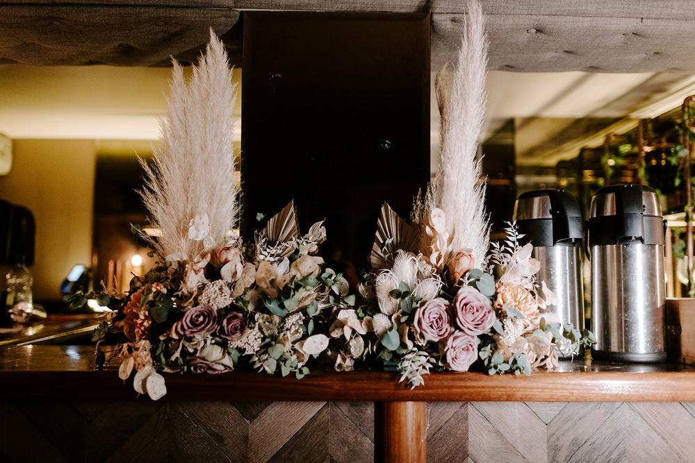 Flowers Bouquets Pampas Grass NYE Wedding Ellie Gillard Photography