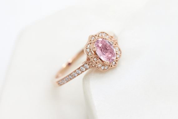 Colours of Sapphires Engagement Ring Wedding Band Pink