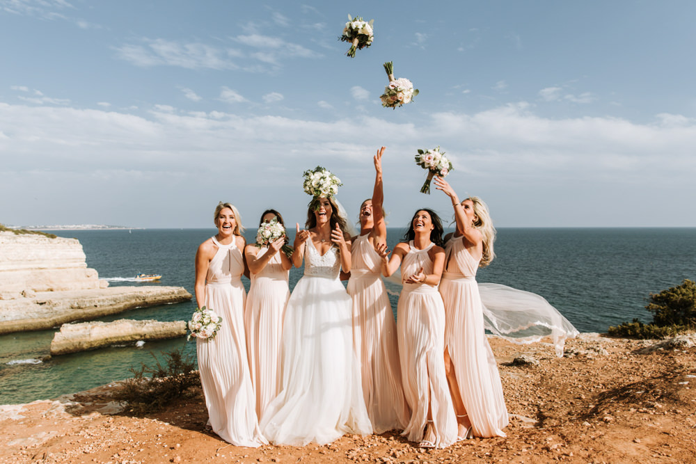 Bridesmaids Bridesmaid Dress Dresses Pink Bouquets Portugal Destination Wedding The Lovers Imagery
