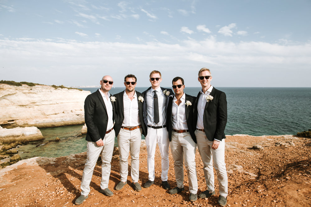Groom Groomsmen Suits Jackets Portugal Destination Wedding The Lovers Imagery