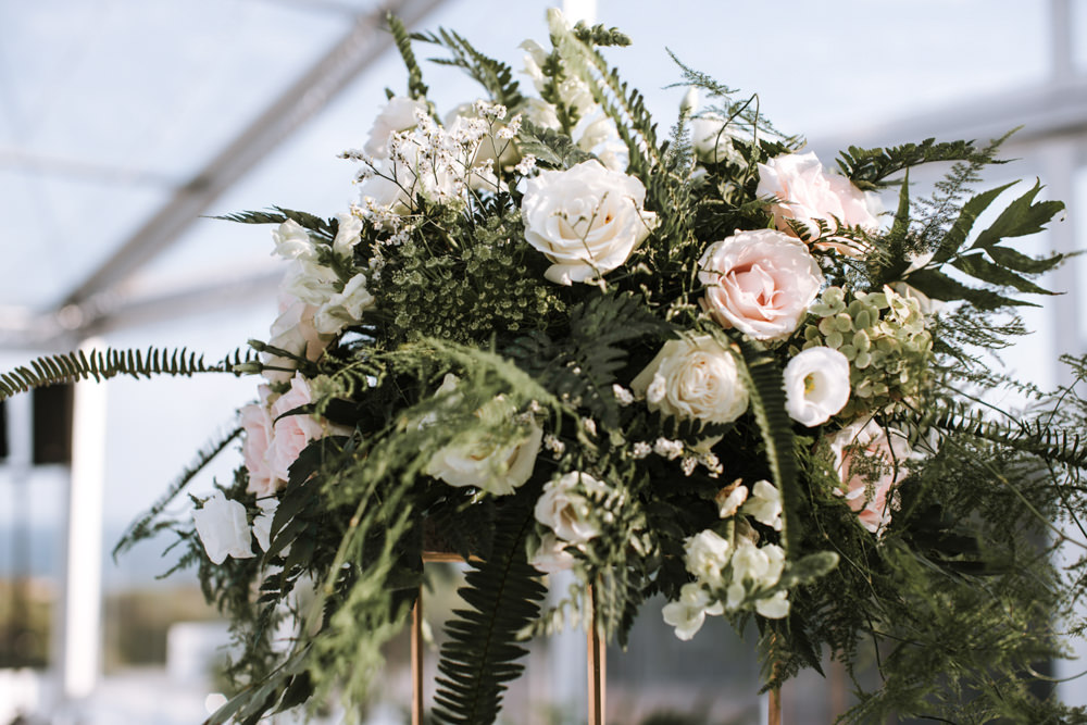 Table Centrepiece Flowers Tall Rose Greenery Portugal Destination Wedding The Lovers Imagery