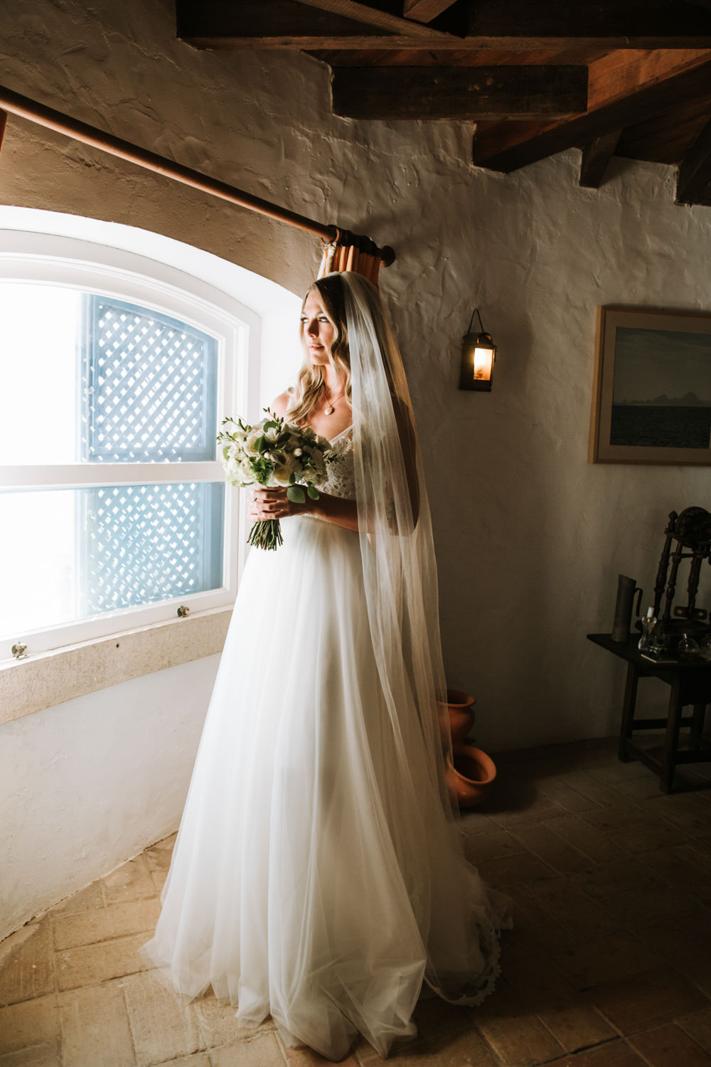 Bride Bridal Dress Gown Veil Victoria Kyriakides Tulle Portugal Destination Wedding The Lovers Imagery