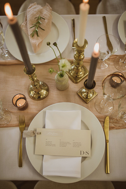 Place Setting Menu Card Candles Decor Small Wedding Ideas The Springles