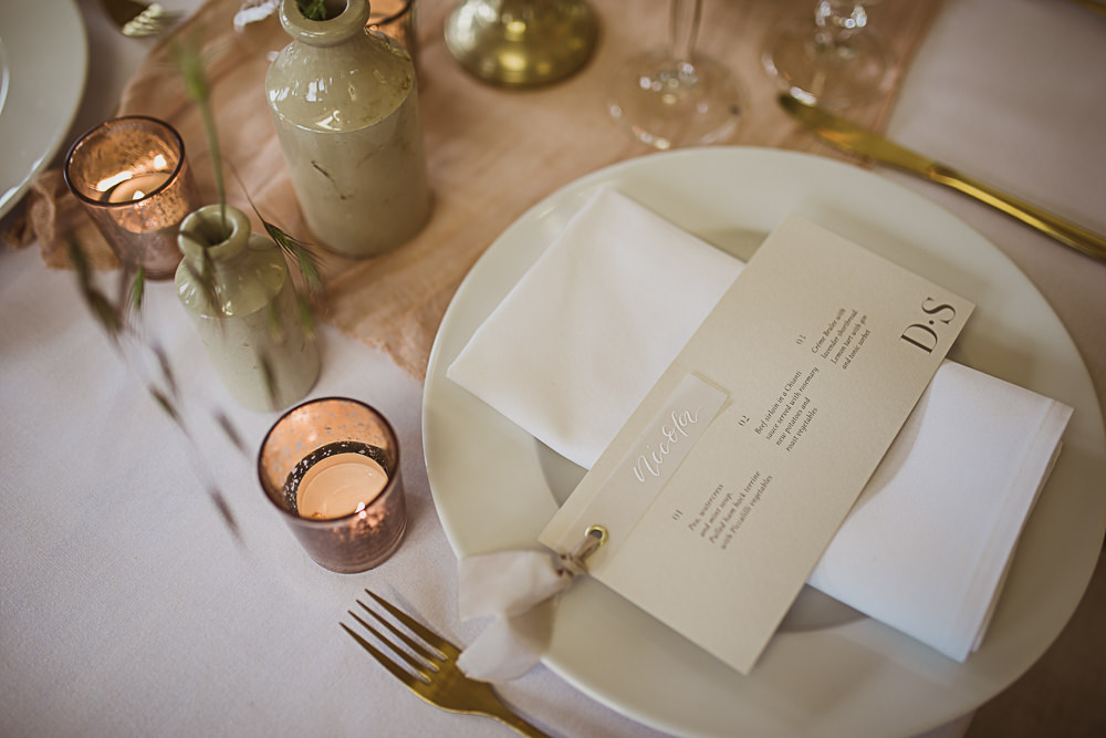 Place Setting Menu Card Small Wedding Ideas The Springles