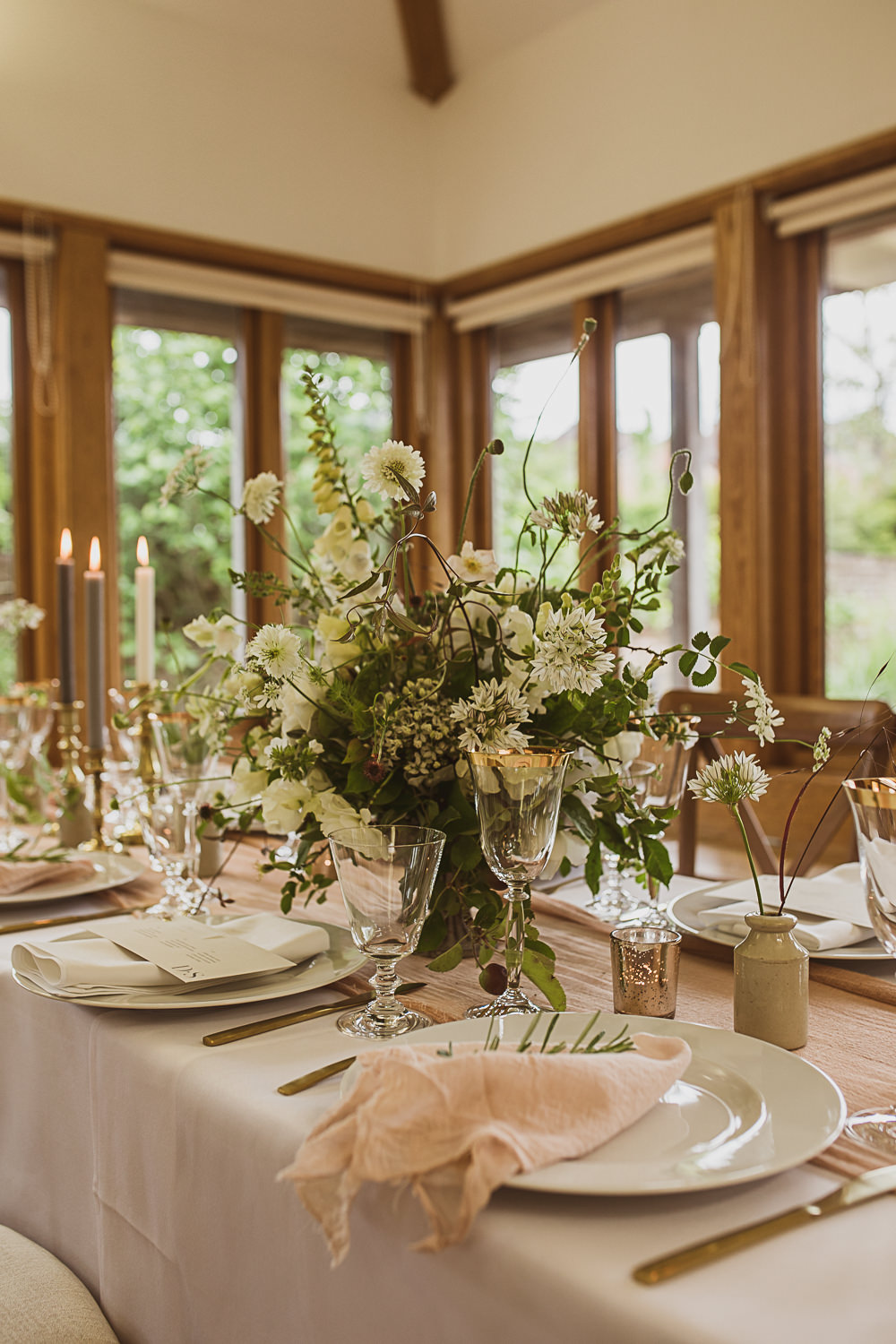 Table Tablescape Decor Candles Flowers Greenery Blush Pink Centrepiece Small Wedding Ideas The Springles