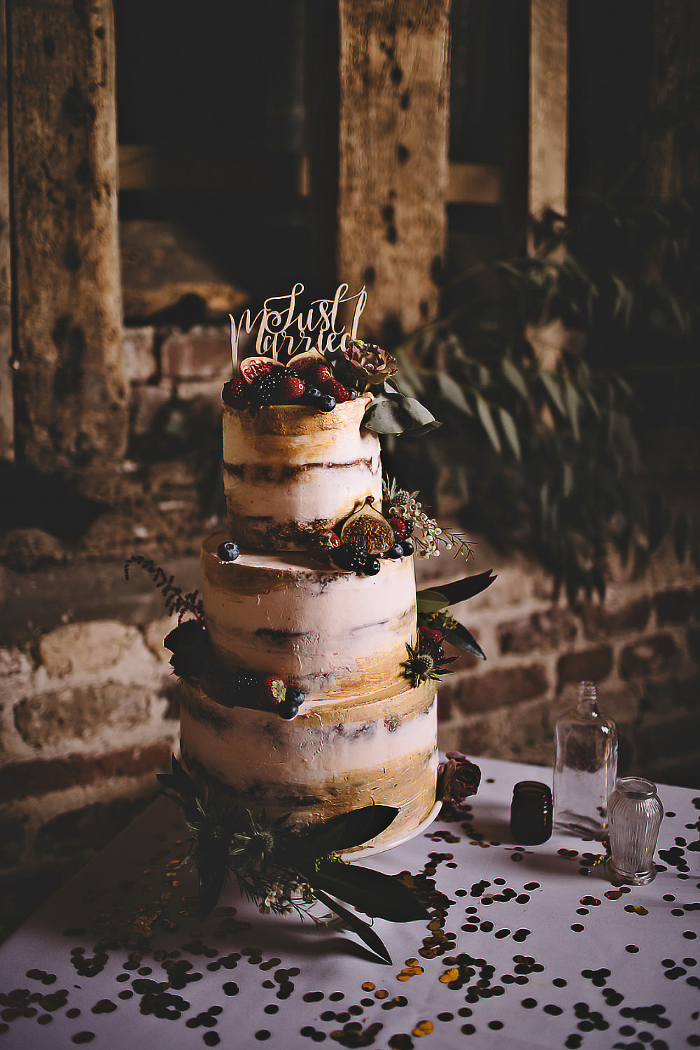 Semi Naked Cake Sponge Layer Flowers Topper Suffolk Barn Wedding Carrie Lavers Photography