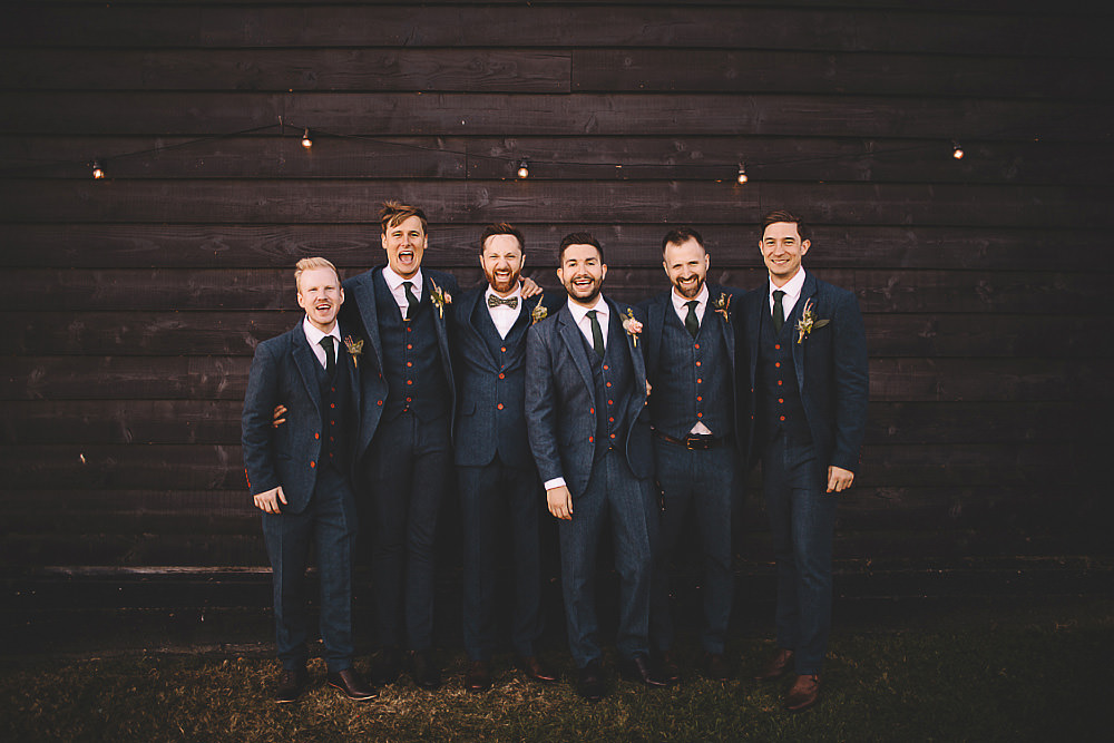 Groom Groomsmen Suit Blue Bow Tie Suffolk Barn Wedding Carrie Lavers Photography