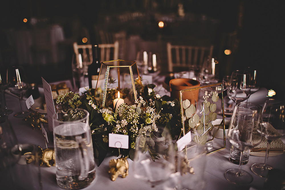 Candle Centrepiece Flowers Decor Suffolk Barn Wedding Carrie Lavers Photography