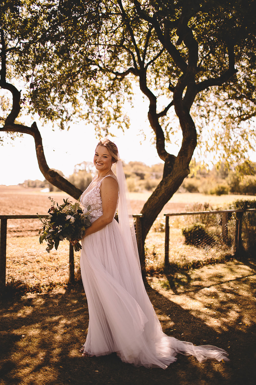 Dress Gown Bride Bridal Juno Watters Wtoo Tulle Straps Veil Suffolk Barn Wedding Carrie Lavers Photography