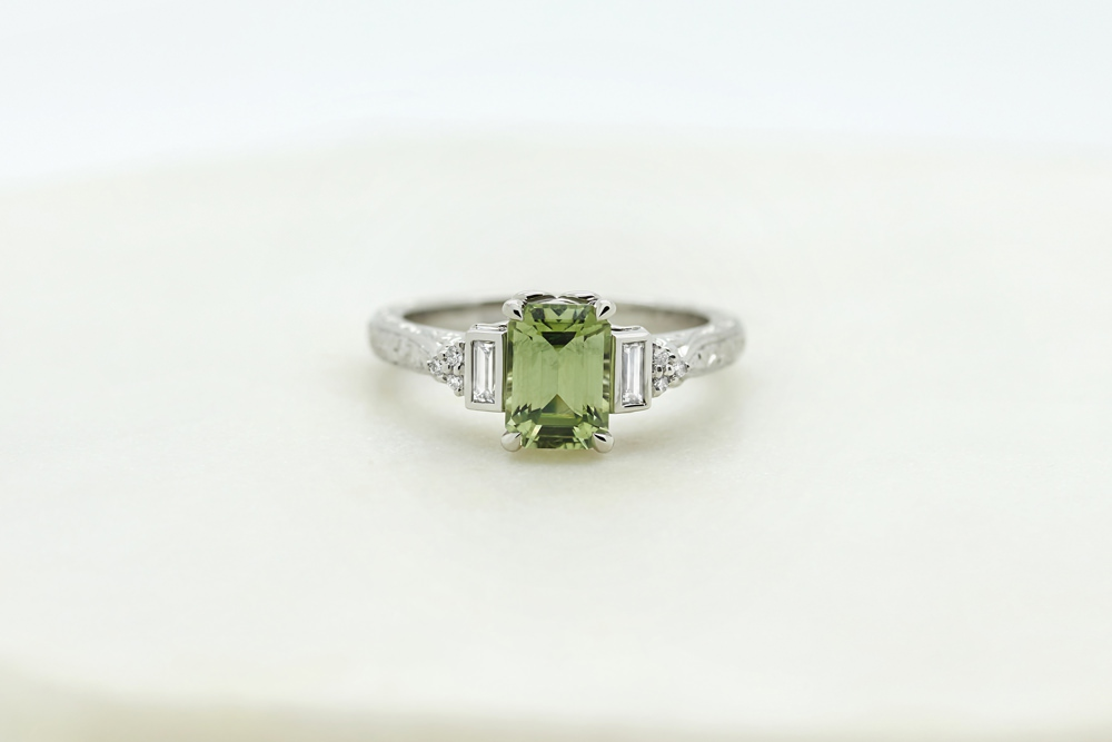 Colours of Sapphires Engagement Ring Wedding Band Green