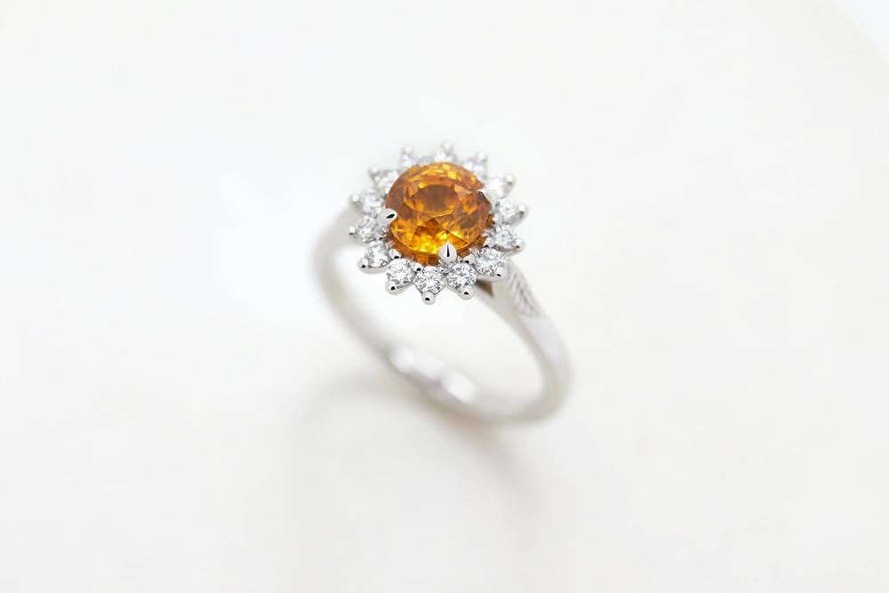 Colours of Sapphires Engagement Ring Wedding Band Round Orange
