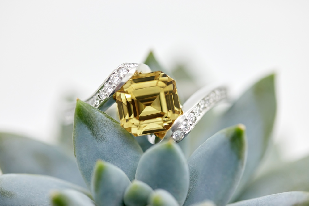 Colours of Sapphires Engagement Ring Wedding Band Yellow Octagonal