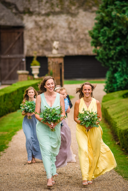 Bridesmaids Bridesmaid Dress Dresses Multicolour Pastel Rainbow Colville Hall Wedding GK Photography