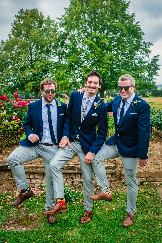 Groom Groomsmen Navy Blazer Grey Chinos Ties Colville Hall Wedding GK Photography