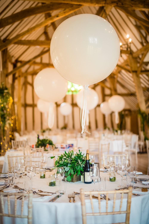 Barn Venue Reception Giant Balloons Table Centrepiece Colville Hall Wedding GK Photography