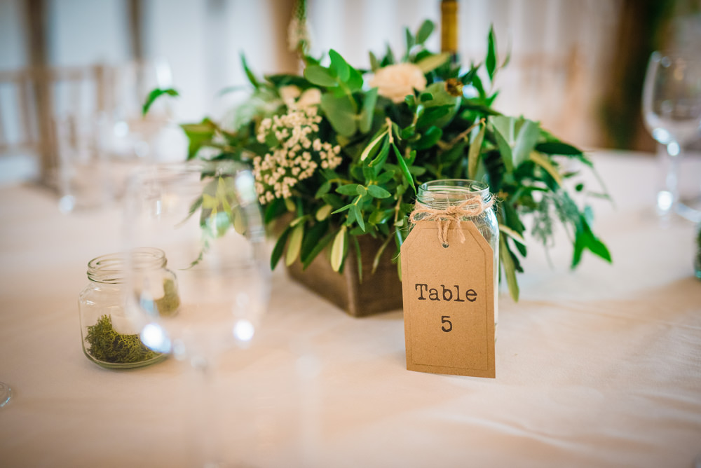 Centrepiece Flowers Table Name Number Colville Hall Wedding GK Photography
