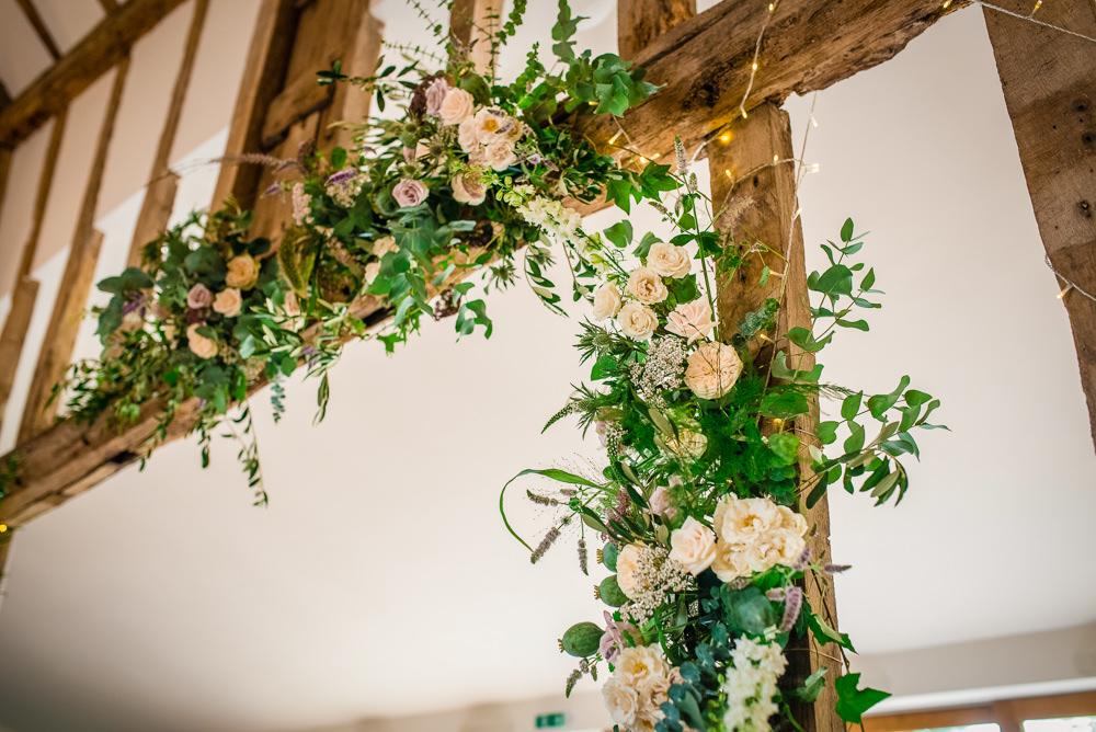 Flower Installation Barn Decor Colville Hall Wedding GK Photography