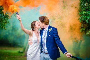 Colville Hall Wedding GK Photography Smoke Bomb Photo Portrait