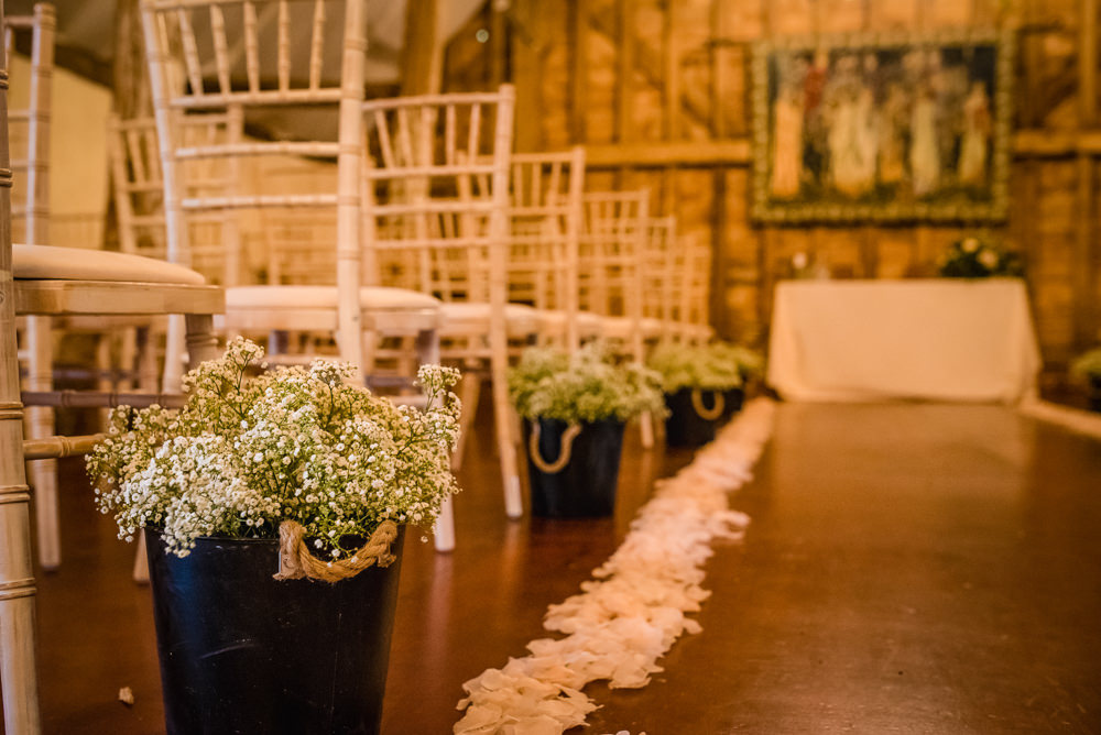 Aisle Ceremony Decor Pew End Flowers Petals Barn Colville Hall Wedding GK Photography