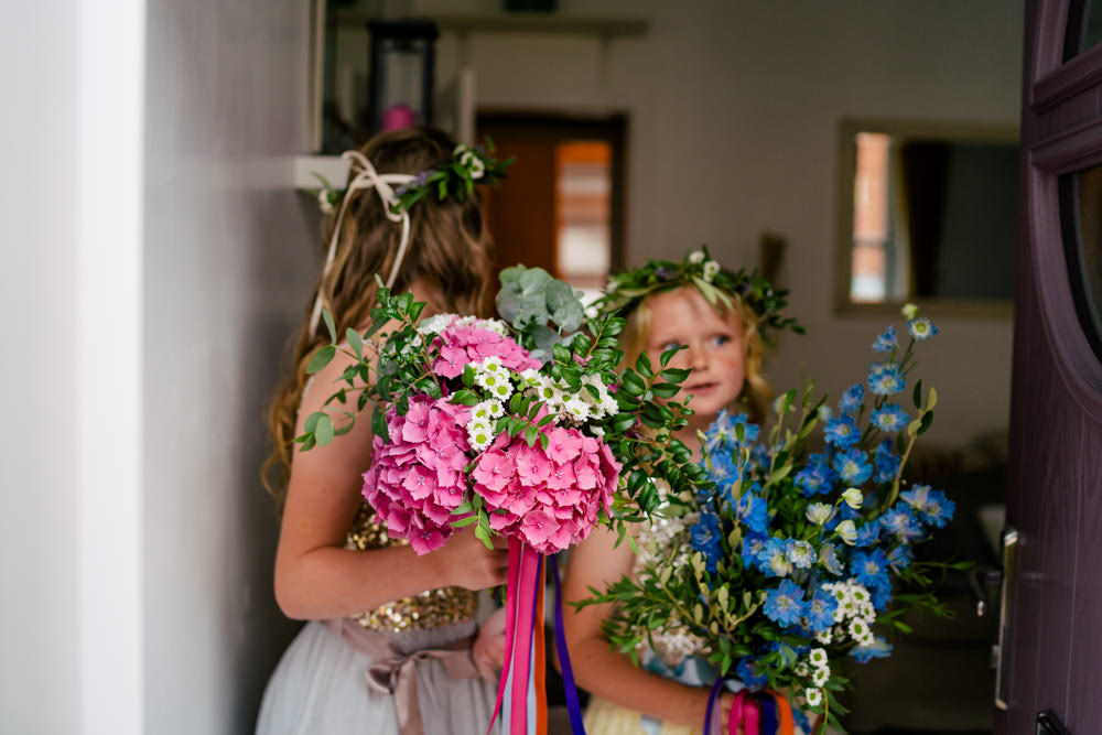 Flower Girls Flower Crown Bouquets Eclectic Wedding Paul and Tim Photographers