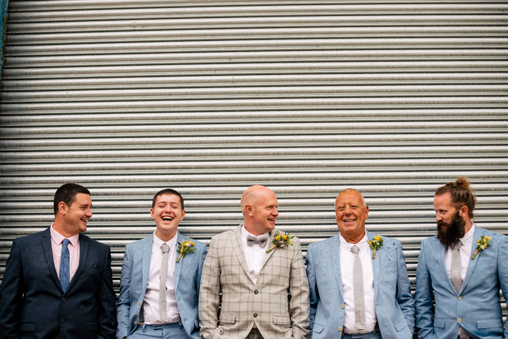 Groom Groomsmen Bow Ties Braces Check Suit Eclectic Wedding Paul and Tim Photographers