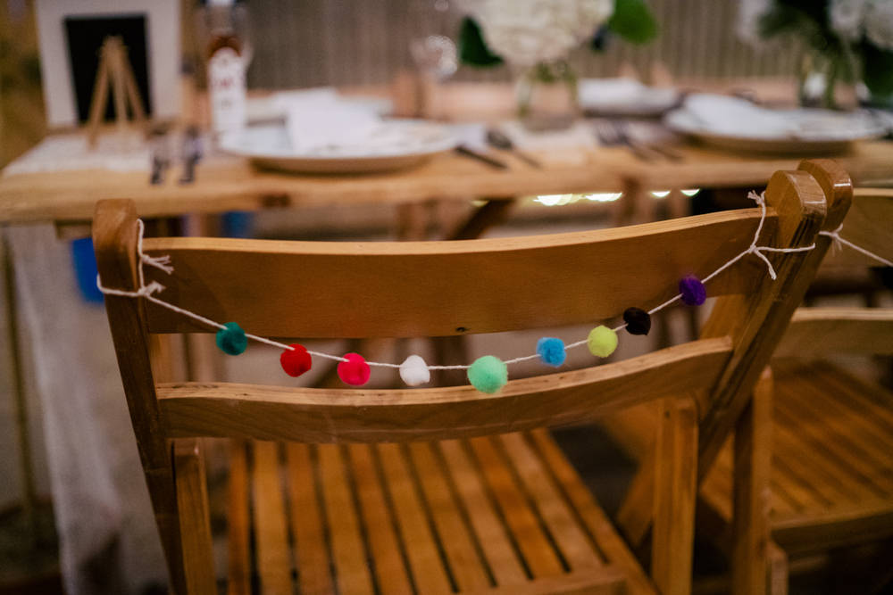 Wool Pom Pom Garland Chair Eclectic Wedding Paul and Tim Photographers