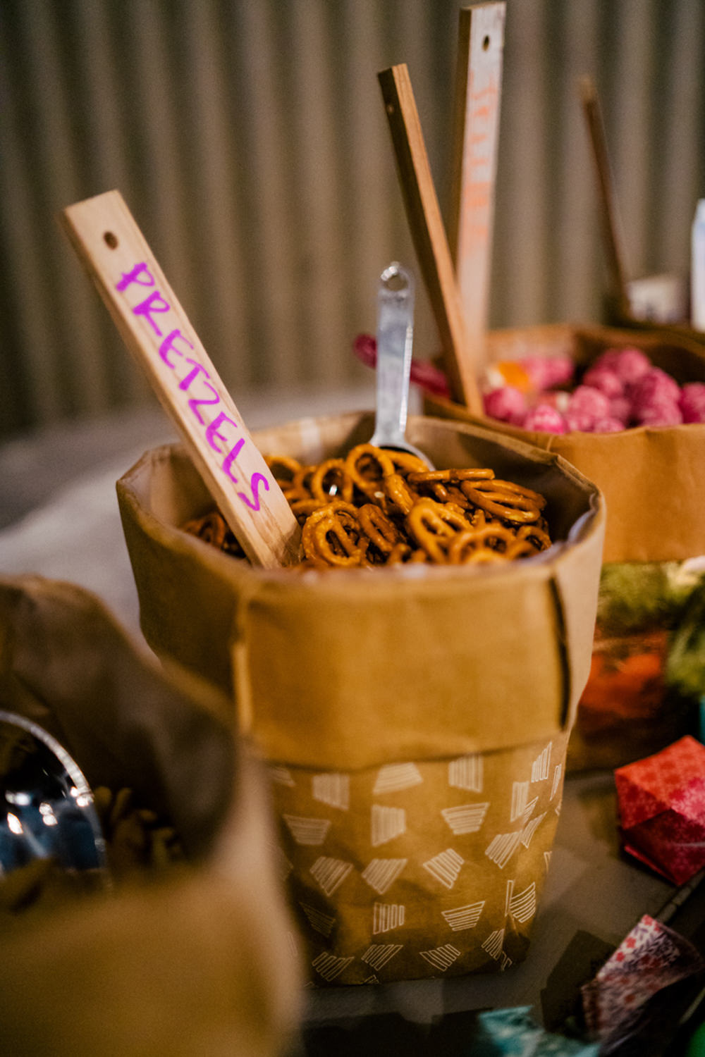 Pretzels Bag Table Eclectic Wedding Paul and Tim Photographers