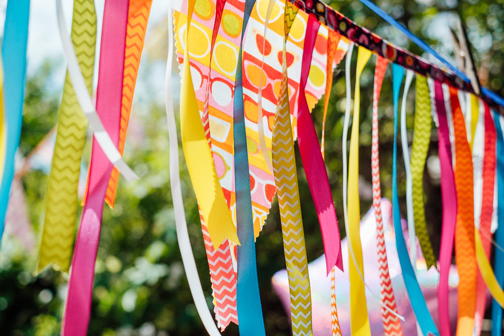 Bunting Ribbons Garden Pandemic Wedding Anna Pumer Photography