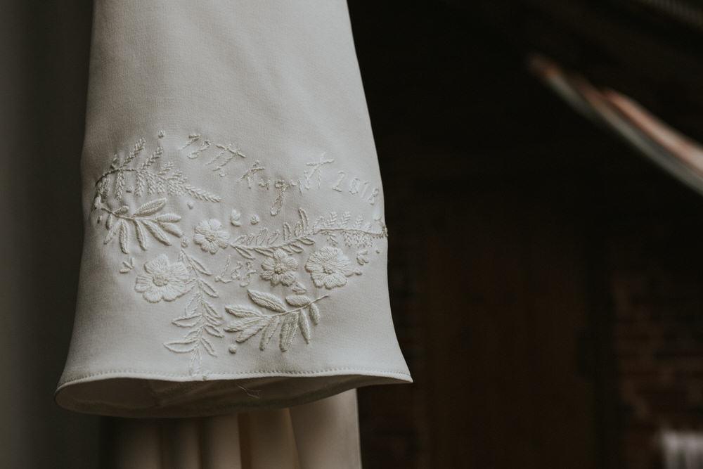 Pennard Hill Farm Wedding MT Studio Dress Gown Bride Bridal Embroidery Sleeve