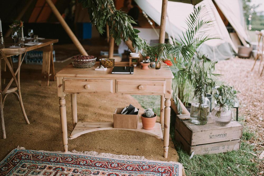 Furniture Dresser Decor Flowers Palms Plants Pennard Hill Farm Wedding MT Studio