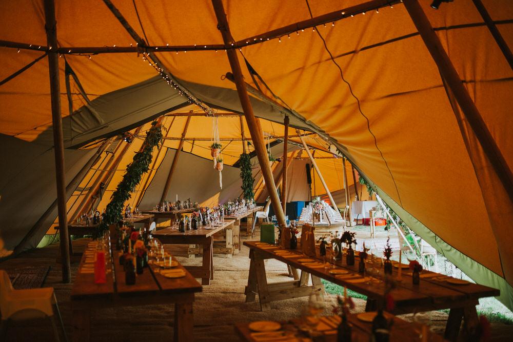 Tipi Decor Long Tables Fairy Lights Lighting Pennard Hill Farm Wedding MT Studio