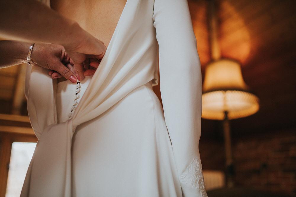 Dress Gown Bride Bridal Amy Mair Couture Two Piece Open Back Sleek Modern Pennard Hill Farm Wedding MT Studio
